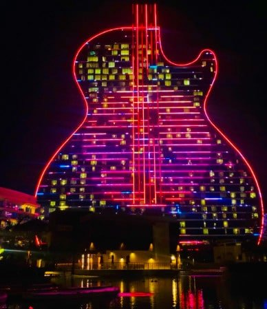 View of the exterior of the Seminole Hard Rock guitar-shaped casino and hotel