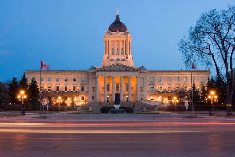 The Manitoba Legislative Building at dusk