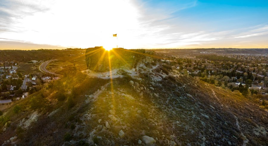 View of the sunrise over Castle Rock
