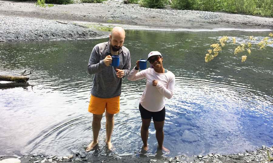 View of the author and her husband enjoying their hot cocoa in Hoh River