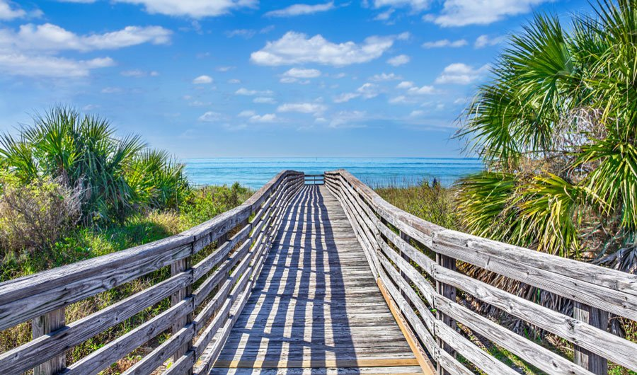 View of a wooden footpath going to the beach