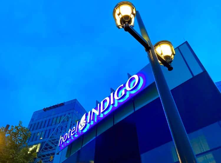 Exterior sign of the Hotel Indigo Denver