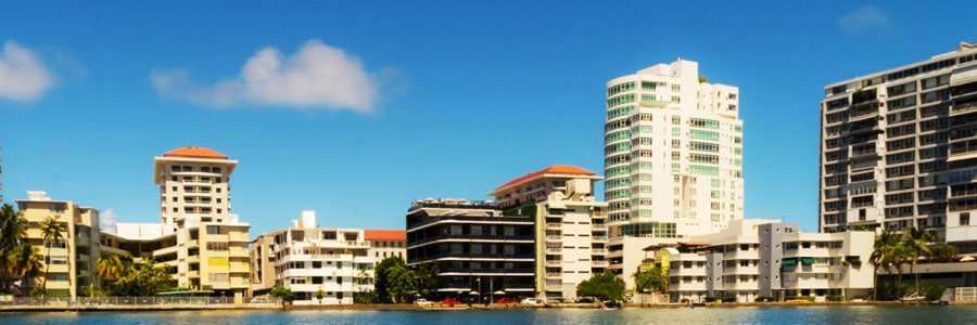 Panoramic view of hotel buildings from the Condado Lagoon