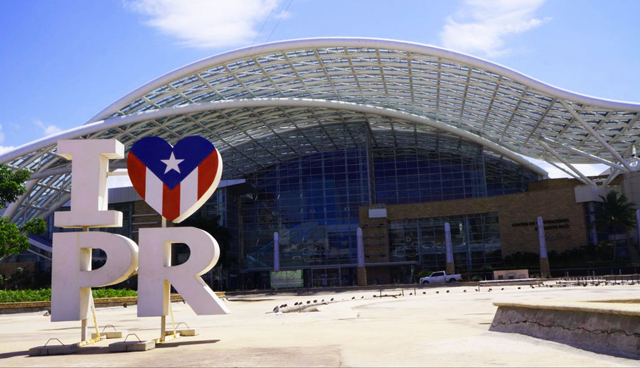 View of an I love Puerto Rico outside a stadium