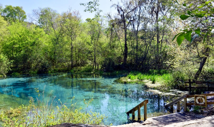 View of Ichetucknee River and a staircase