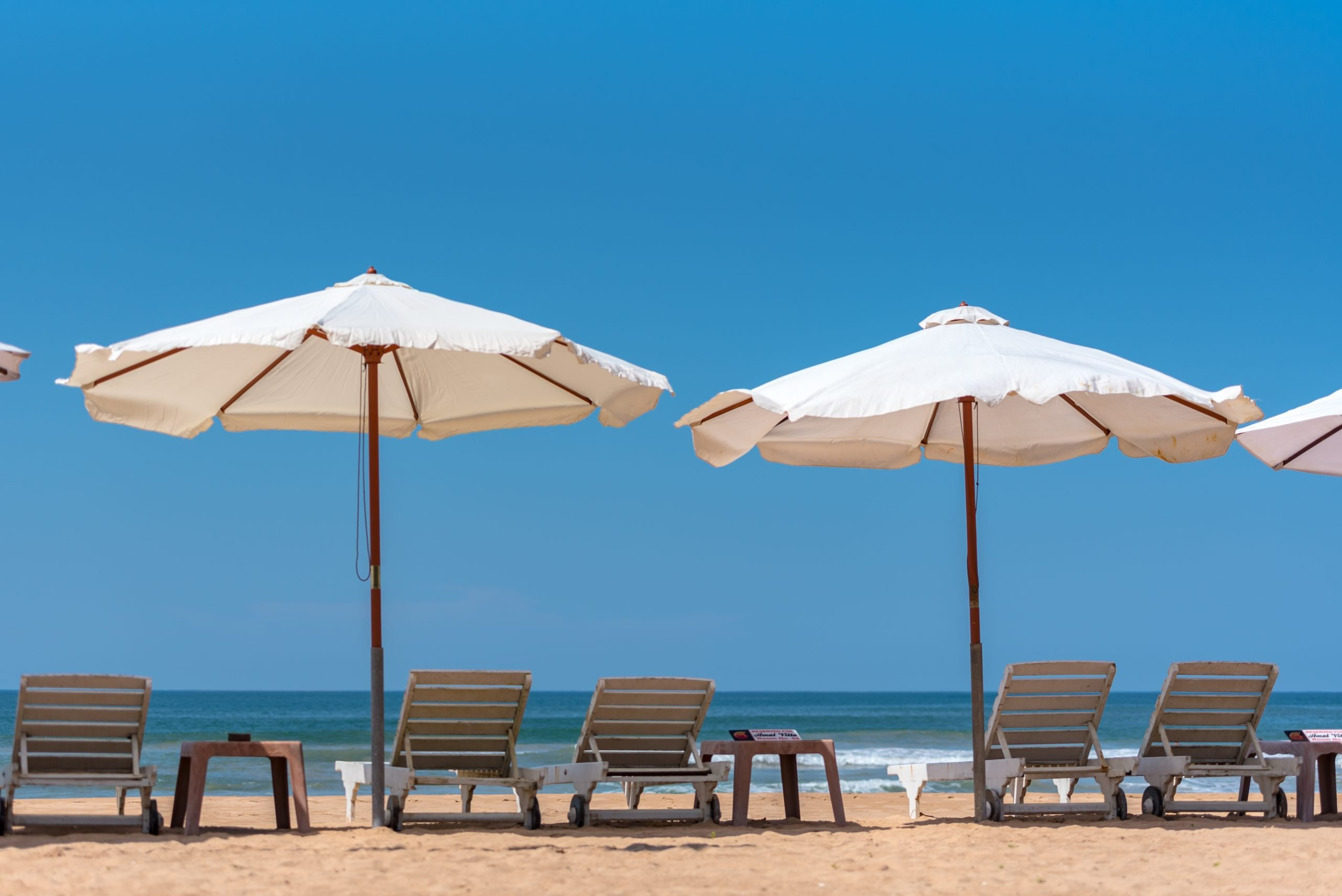 Lounge chairs on Mirissa Beach Sri Lanka