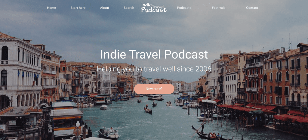 Indie Travel Podcast website landing page