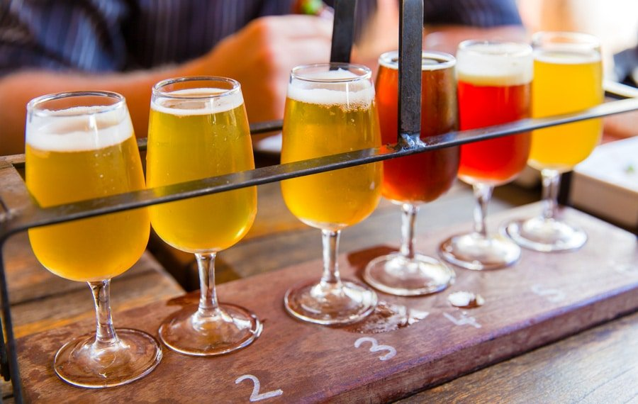 View of different beers reading for tasting