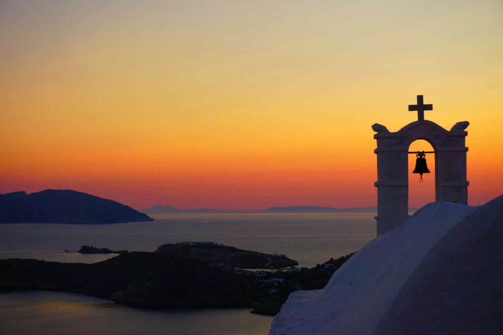 A church bell at sunset in Ios Greece