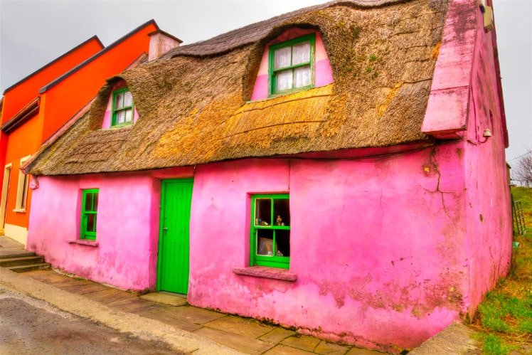 Pink house in Doolin Ireland