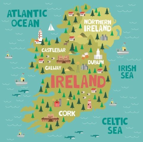 Cartoon map showing Northern Ireland and the Republic of Ireland