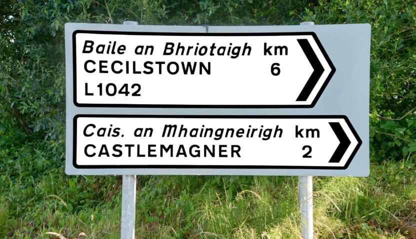 Irish road sign in English and Gaelic
