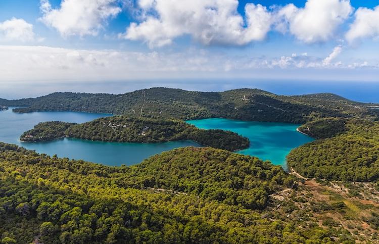 An aerial view of Mljet Island, Croatia