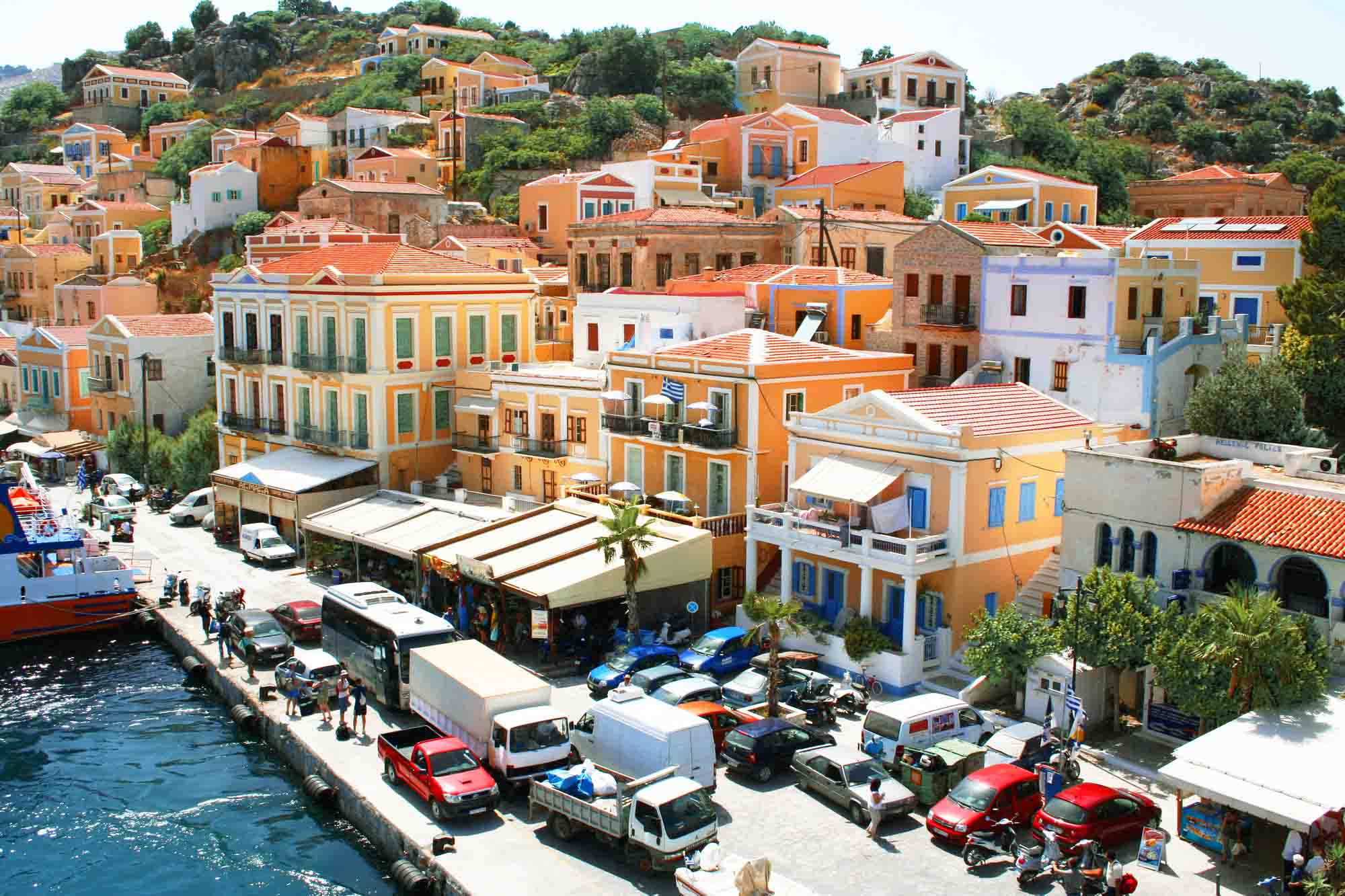 Colorful houses in Island Symi Greece