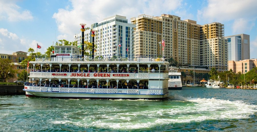 View of the famous jungle queen riverboat