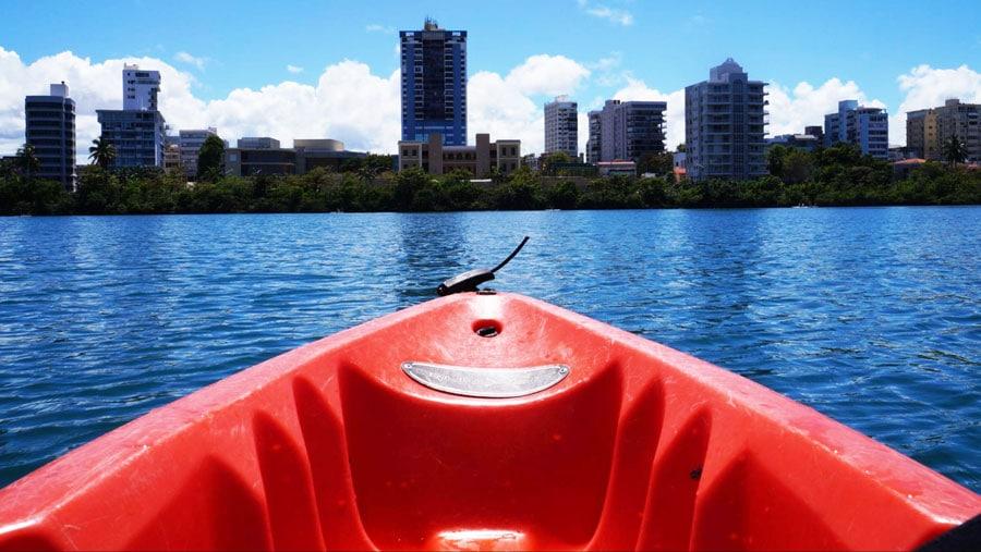 View of the skyline while kayaking in San Juan