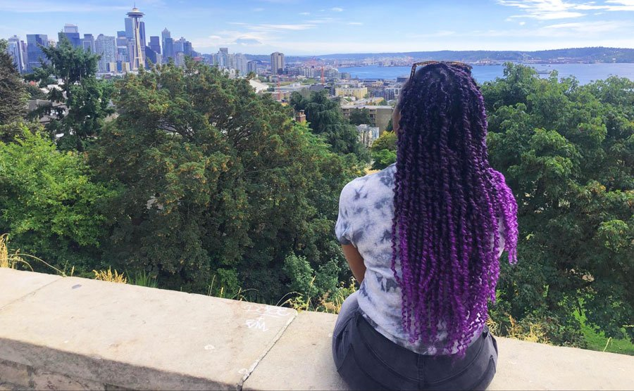 View of the author admiring Seattle from Kerry Park