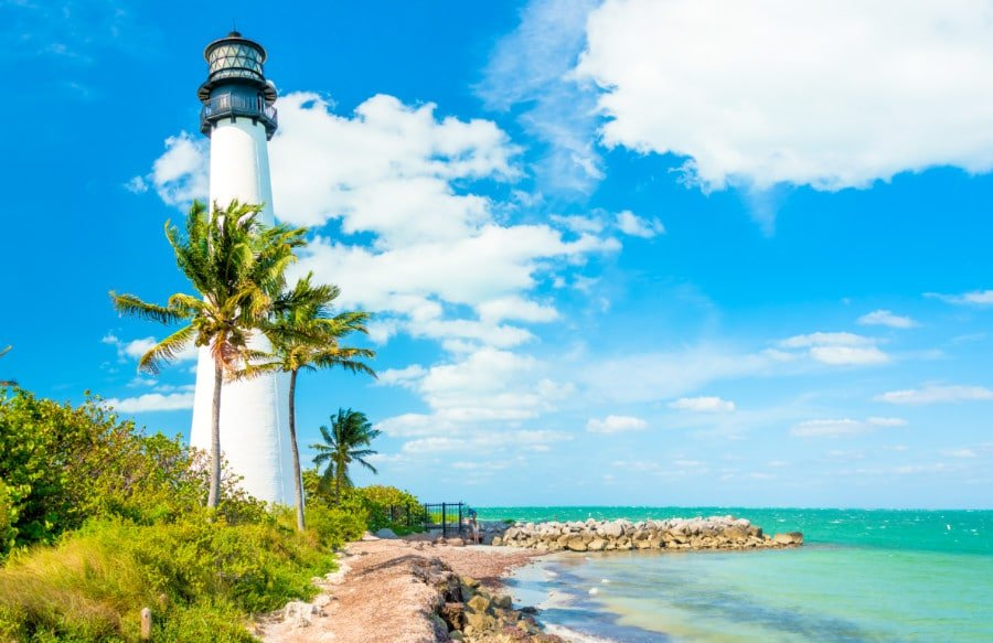 View of the lighthouse and shoreline at Key Biscayne