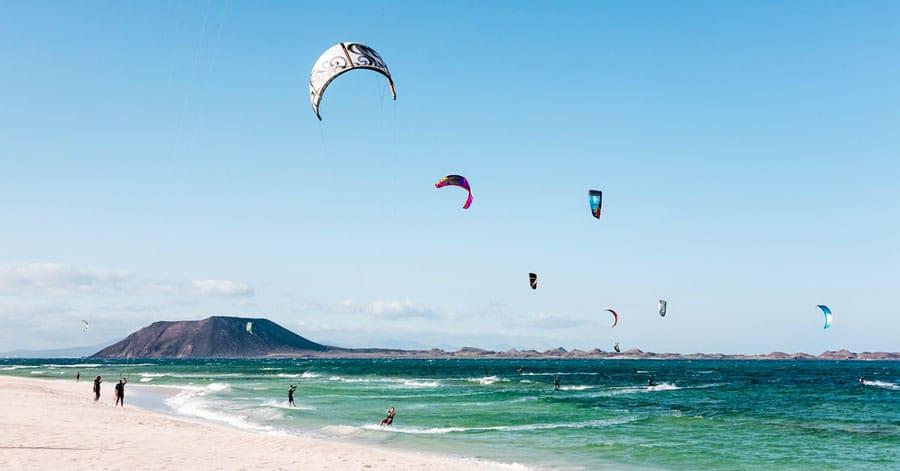 View of kite surfers having fun on the beach