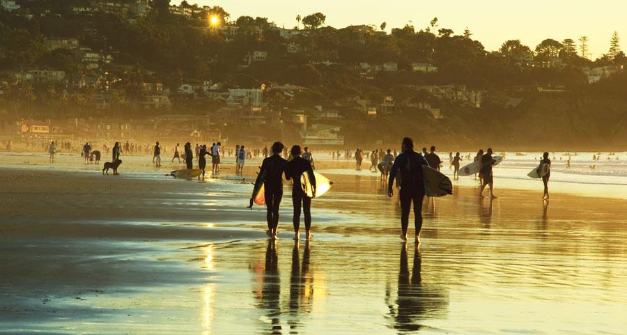 View of surfers in La Jolla Shores