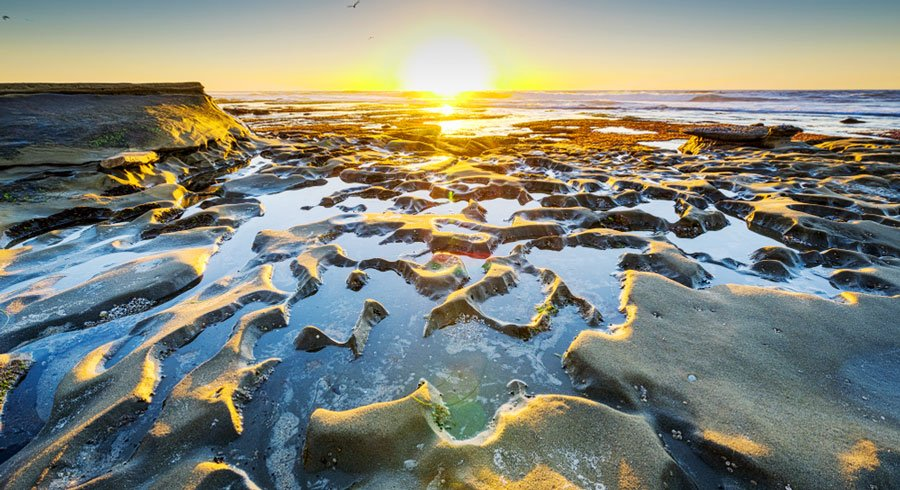 View of the sunset in La Jolla Tide Pools