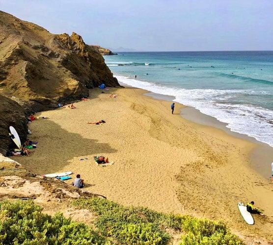 View of people enjoying in La Pared Beach