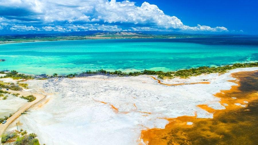 Aerial view of the Playa Sucia beach