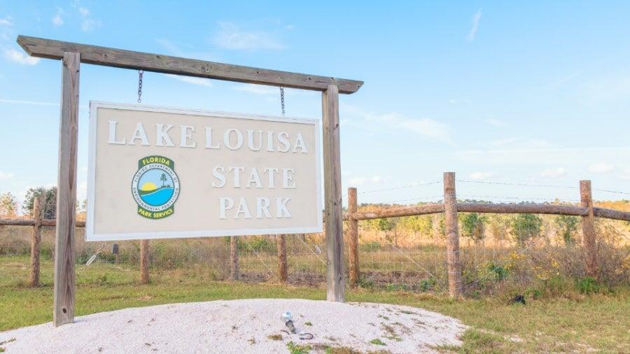 Entrance sign at Lake Louisa State Park Florida