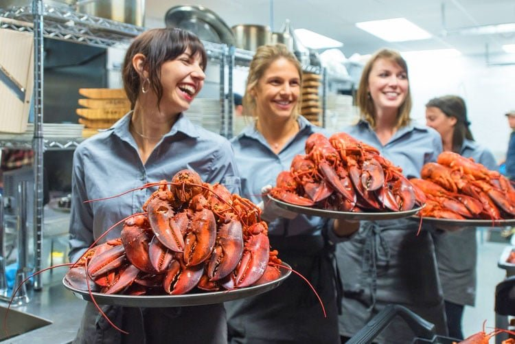 Lobsters being served in Nova Scotia