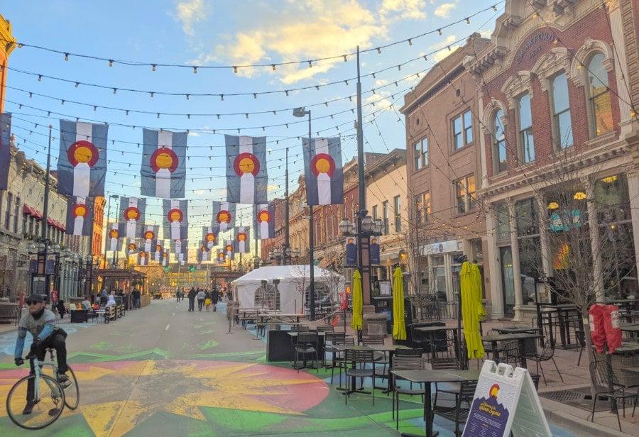 View of pedestrians in Larimer Square Denver