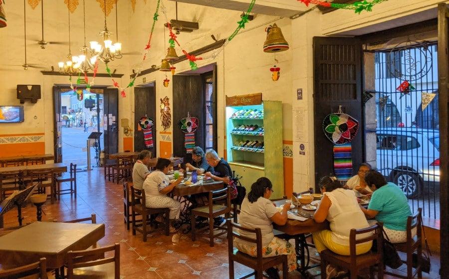 The interior of Las Campanas Local Restaurant in Valladolid Mexico