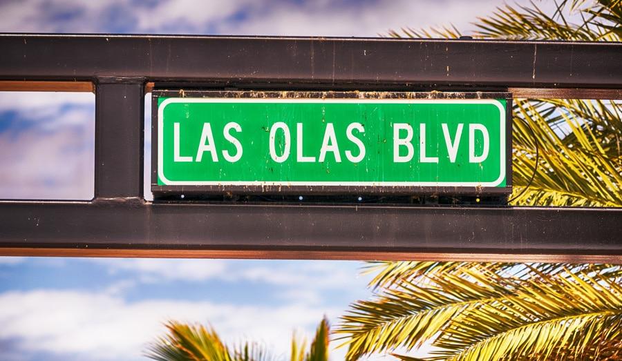View of the Las Olas Blvd signage