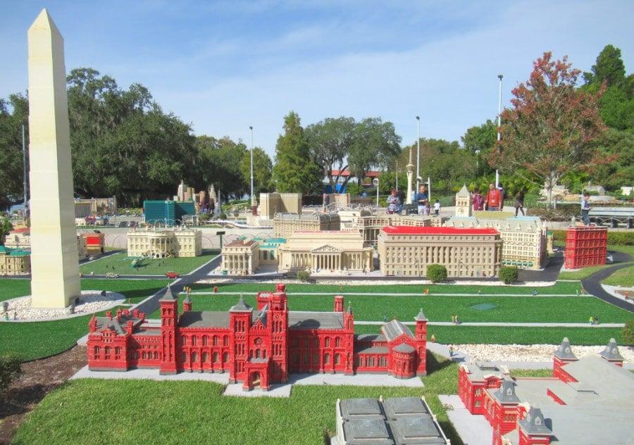 View of the Washington Monument lego exhibit at LEGOLAND Florida
