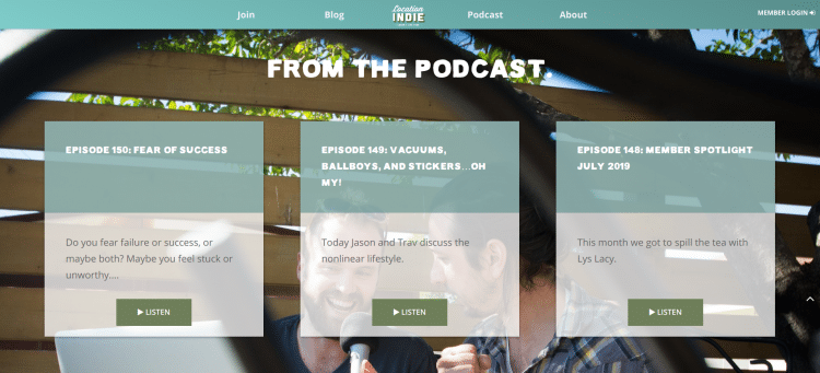 The Location Indie Podcast website landing page