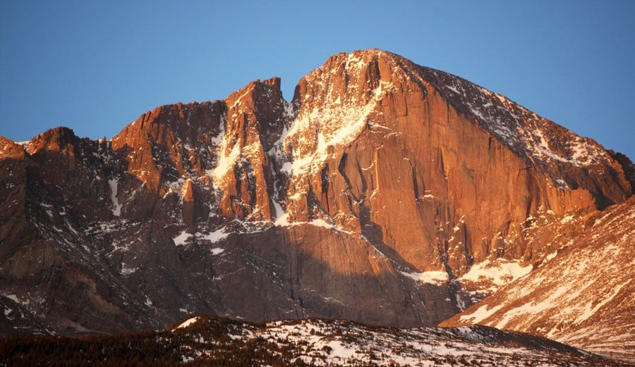 View of the Longs Peak in Rocky Mountain National Park