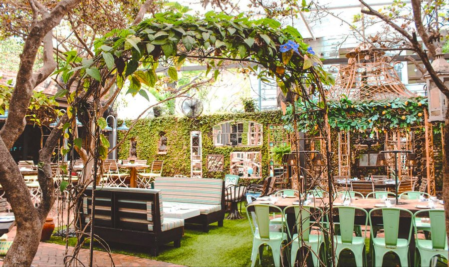 View of the courtyard in Louie Bossi's