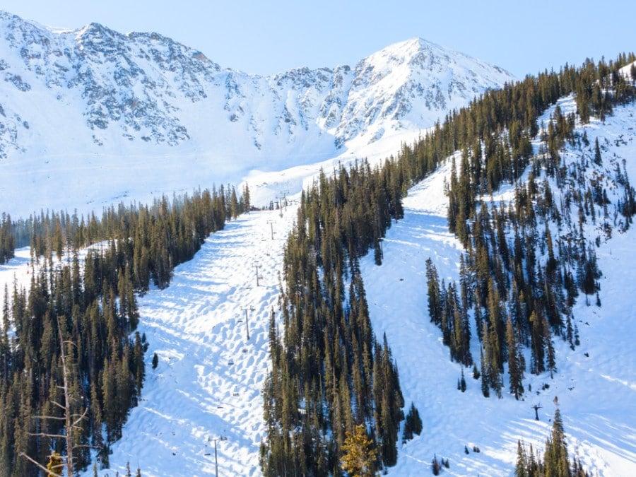 View of the slopes at the Loveland ski resort near Denver