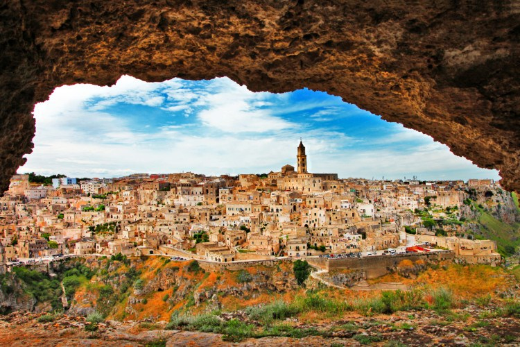View of Matera Italy from Cave