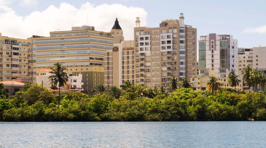 View of the buildings in Miramar from the Condado Lagoon