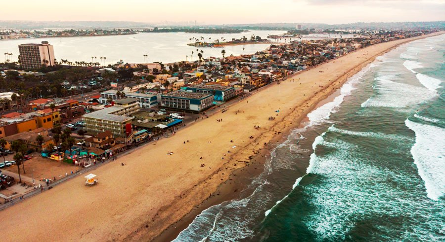 Aerial view of the Mission Beach and the area near the beach