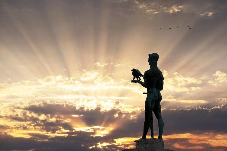 Monument of Belgrade Winner in Sunset