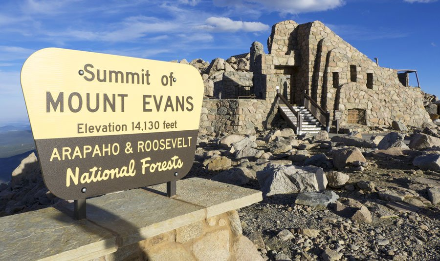 View of the Summit sign and some rock formation behind it