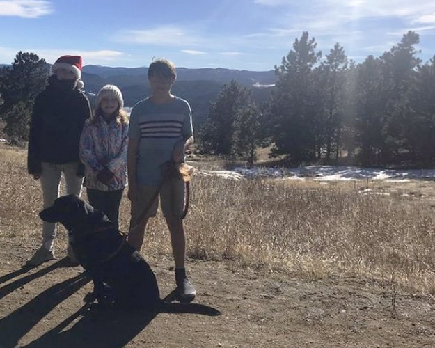 View of the author's kids with their dog