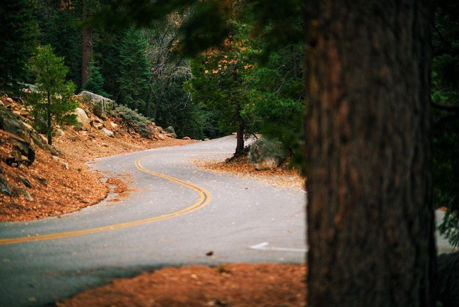 Scenic view of the mountain road in Idyllwild