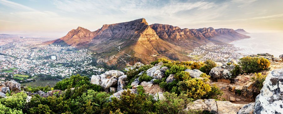 Panoramic view of the Table Mountain in South Africa