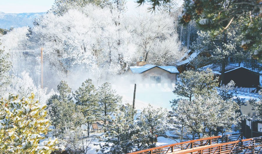View of Mt. Princeton Hot Springs during winter