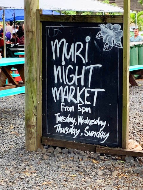 Sign at Muri Night Market, Cook Islands