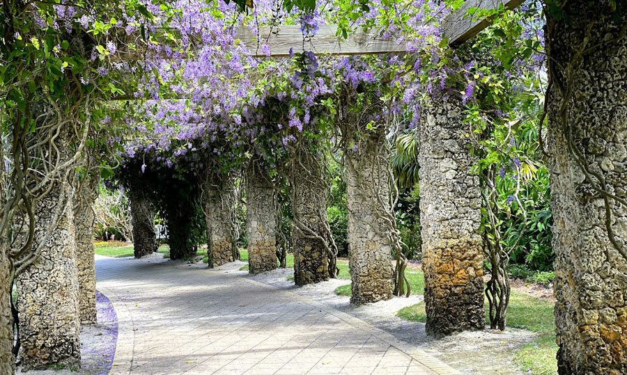 View of a flower arch in Naples Botanical Garden