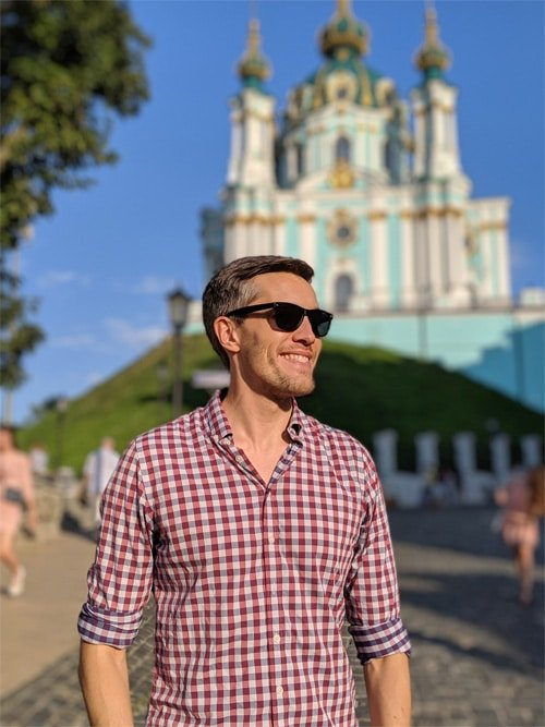 Nate with Ukrainian Cathedral on the background
