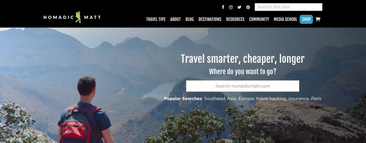 Nomadic Matt travel blog landing page
